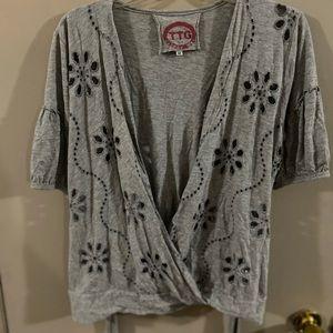TTG Johnny Was M gray wrap blouse cut out floral